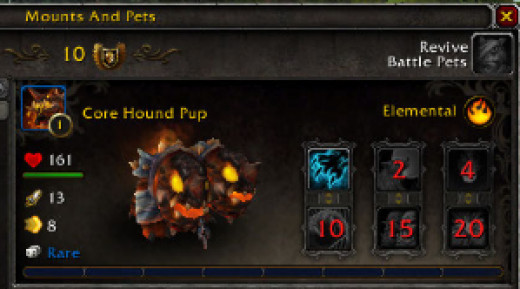 The Core Hound Pup can be used as a battle pet.