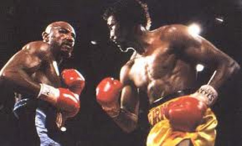 Marvelous Marvin Hagler knocked out The Hitman Tommy Hearns in three rounds to defend his middleweight crown.