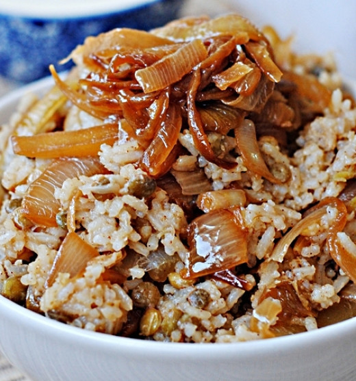 Mujadara is a delight at anytime and is very healthy especially when made with brown rice.