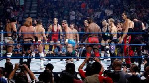 The Battle Royal features 20 Wrestlers fighting at once. To be eliminated you must be thrown over the top rope and the last one standing is the winner.