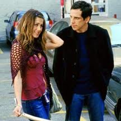 Jennifer Anniston and Ben Stiller are an odd couple in Along Came Polly. He is serious at all times and she is care free and silly.