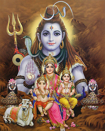 Lord Shiva with his family (Parvathy, his wife and two kids Ganesha & Karthikeya)