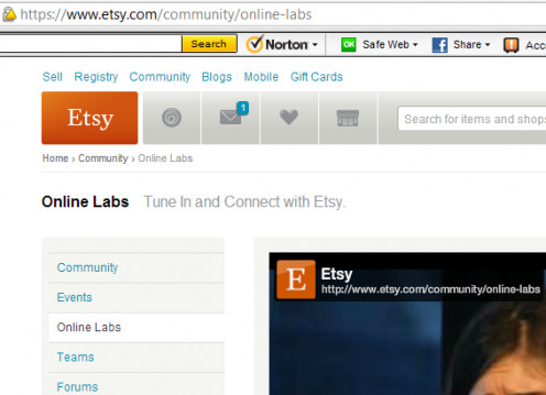 Etsy Online Lab Page. Access to the video library labs.