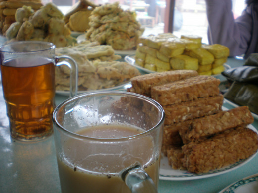 Traditional foods like tempe and tofu, together with hot tea or bajigur drink make a perfect combination.
