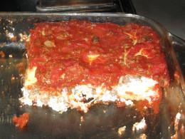 Ravioli Lasagna after being cut for serving