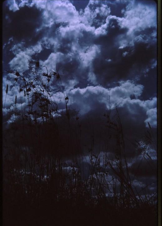 The low'ring element   Scowls o'er the darken'd landscape.