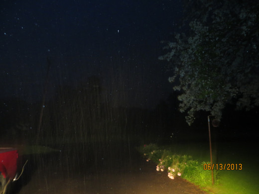 It's a little hard to see but if you look to the left of the photo you can see the rain pouring down at night.