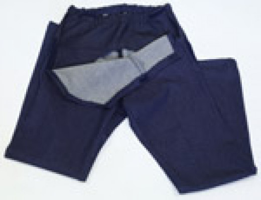 Drop front trousers are easy to open and close with velcro fastenings