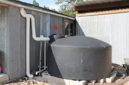 The rainwater collection tanks provides water to a conservation minded pottery shop.