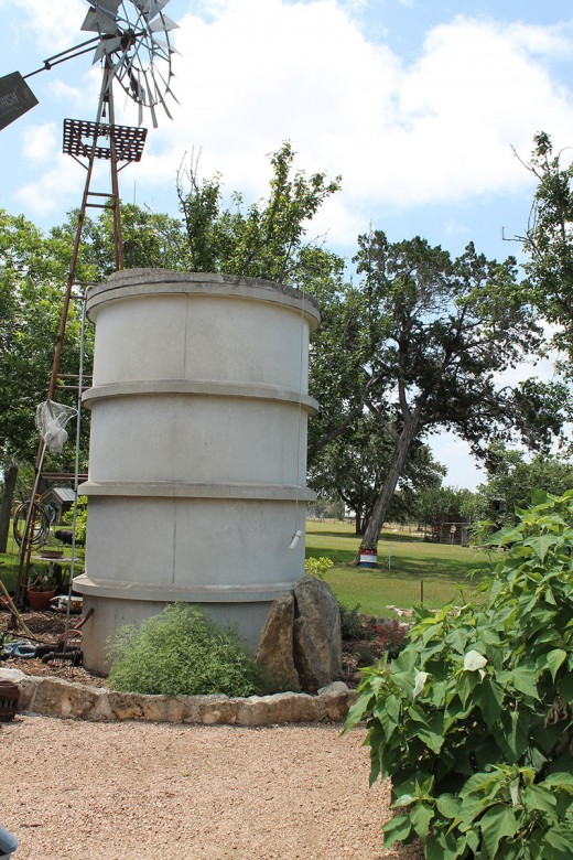 Concrete tanks are used for windmill or rainwater collection.