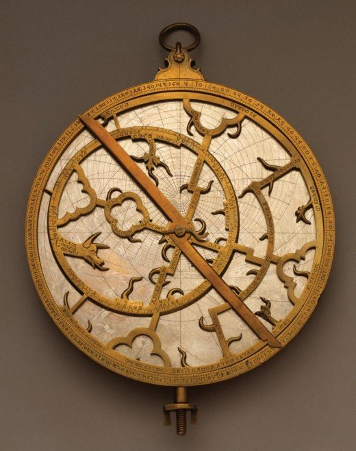 A planispheric astrolabe from the 14th century. Used for astrology, timekeeping, navigation, and surveying in the 14th century and beyond. More info at source.