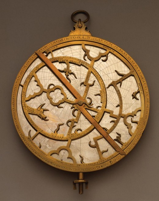 A planispheric astrolabe from the 14th century. Used for surveying, astrology, timekeeping, and navigation in the 14th century and beyond. More info at source.