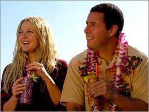 Adam Sandler and Drew Barrymore star in 50 First Dates. Everyday Barrymore must relive the same day over and over again.