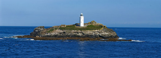 Lighthouses in Cornwall: Godrevy Lighthouse, St Ives Bay.