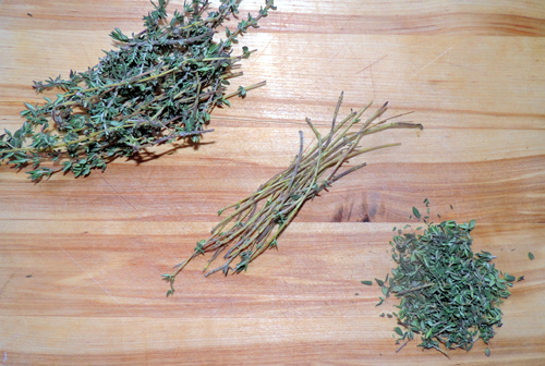 left to right, top to bottom: thyme prep