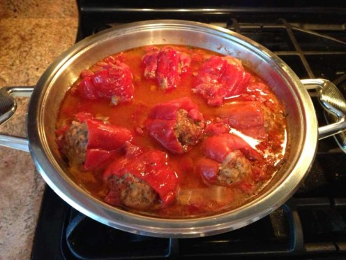 Stuffed Sweet Red Bell Peppers