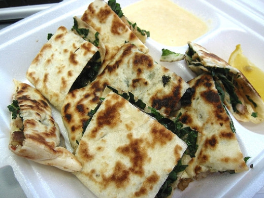 Lovely Gozleme with spinach, herbs, lamb mince and feta cheese