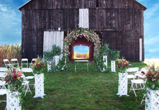 Decor of the Wedding Venue with Flowers