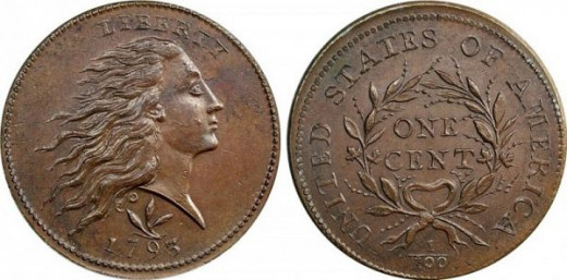 1793 Flowing Hair Wreath Large Cent
