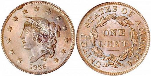 1836 Coronet Large Cent