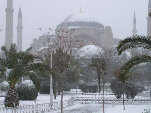 Hagia Sophia under snow, Istambul