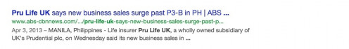 An article hosted by ABS CBN stating how sales of Pru Life UK when up as of 2013 ;)