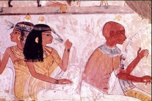 A blind harpist playing a music to the higher class Egyptians. This is demonstrated in the tomb walls as a part of history. Some of the musicians and poets in their society were blind.