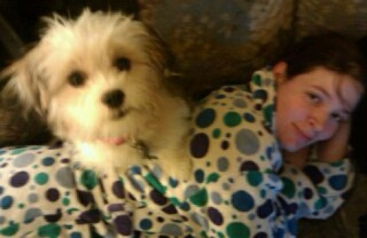"""This flattering picture of me sick while my puppy """"takes care of me""""."""