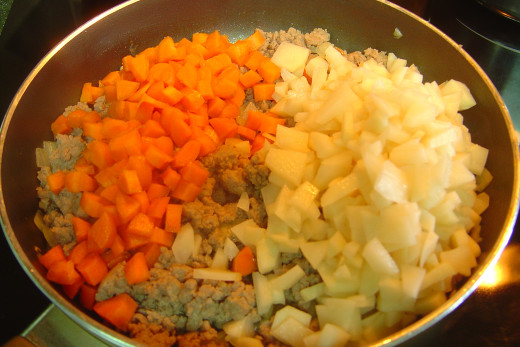 Combine cubed/chopped carrots and potatoes with the meat and sauté until potatoes are cooked.