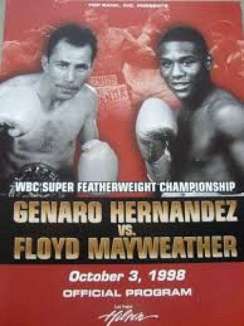 Floyd Mayweather beat Genaro Hernandez(R.I.P.) for the Jr. Lightweight title and then he defended it 8 times.