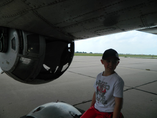 My son standing beside the turret. It was amazing how small it truly is.