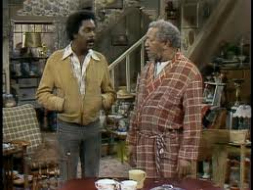 Fred Sanford, played by Redd Foxx, is seen here with his son Lamont. They live together and run a junk business right out of their yard and home.