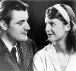 Ted Hughes, the English poet, and Sylvia Plath early on in their relationship.