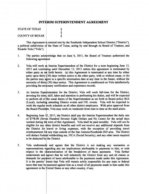 Page 1: Contract, Ricardo R. Vela