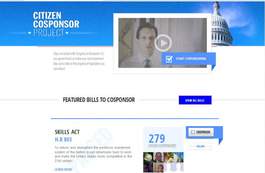 Visit CoSponsor.gov today and become a Citizen CoSponsor of the bills you care about.  But - you need to be on Facebook.