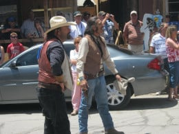 """A """"real"""" gunfight in the street in Oatman, OK, so it is really staged and performed by actors, but it is pretty entertaining and funny!"""