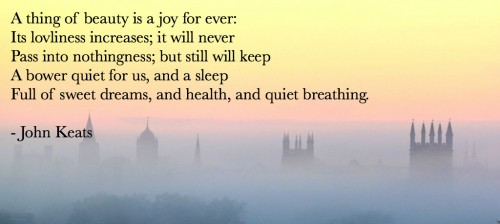 Brief poem by legendary English Romantic poet John Keats.