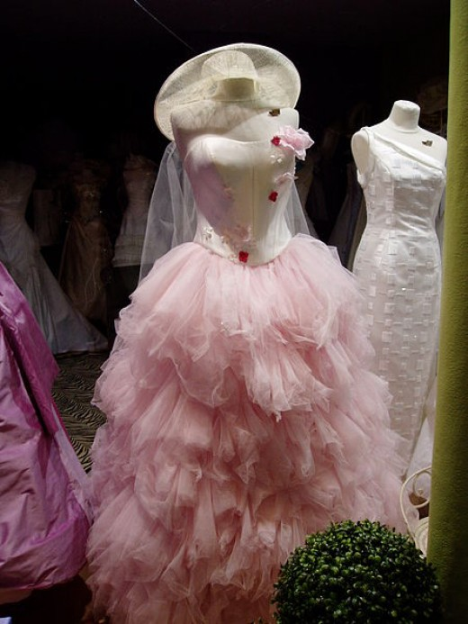 Parisian pink bouffant wedding gown, it looks like from the 1950's or 1960's