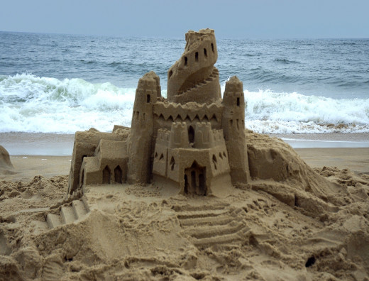 That age-old childhood art form turn professional--a sandcastle!