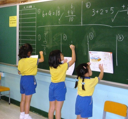Children using a chalkboard in a classroom