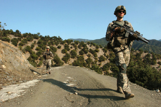 Soldiers on patrol in Korengal Valley, Afghanistan