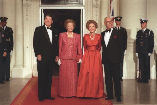 Ronald Reagan and Margaret Thatcher (along with their partners) were the two highest profile advocates of a free trade economy in the 1980's.