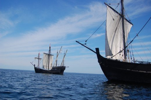 Replicas of the Nina and Pinta, two of the ships Columbus used when he first connected the European trade network to the Americas.