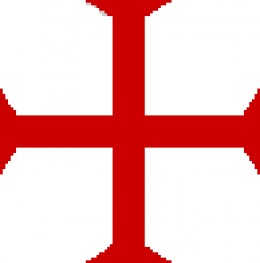 The Cross of the Knight's Templar, seen in Templar buildings, war pennants, and uniforms.
