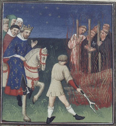 Depiction of the execution of members of the Knights Templar.