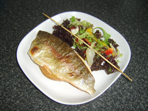 Skewer easily removed from rainbow trout fillet