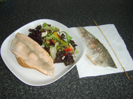 Skin peels easily from properly cooked rainbow trout shish kebab