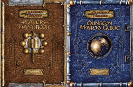 the dungeons master guide and player's handbook from Dungeons and Dragons 3.5