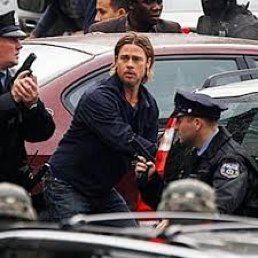 Brad Pitt stars as Gerry Lane, a former UN employee called back in service when a global epidemic threatens to turn the world population into zombies in the thriller World War Z.