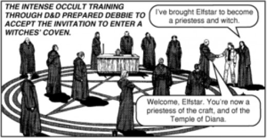 a panel from an anti Dungeons and Dragons comic published by Jack Chick